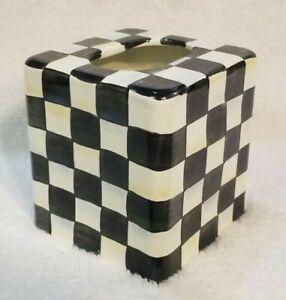 Mackenzie Childs Courtly Check Enamel Tissue Box Cover
