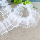 New White Mesh Pleated Gathered Trim Ruffled Sewing Lace Ribbon Craft DIY 1yd