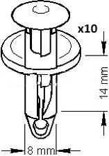 10 Clips plastique agrafe universel Audi Vw Seat  ( Percage : 8 mm )