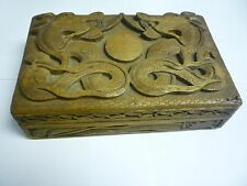 Antique Chinese Wooden Carved Dragons Jewellery Trinket Box