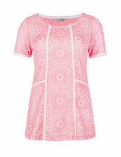 BNWT M&S Pink White Lace Textured Short Sleeved Top Size 16