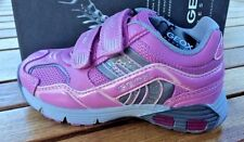 Geox J Ascari Pink Leather Girls Sneakers  NON- Tie  Little Girls Size 11
