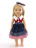 "Red White Blue Stars Dress Fits Wellie Wishers 14.5"" American Girl Clothes"