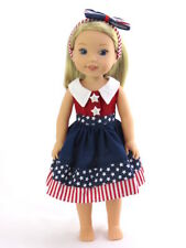 """Red White Blue Stars Dress Fits Wellie Wishers 14.5"""" American Girl Clothes"""