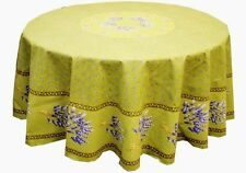 """LE CLUNY, LAVENDER GREEN FRENCH PROVENCE COATED COTTON TABLECLOTH, 70"""" ROUND"""