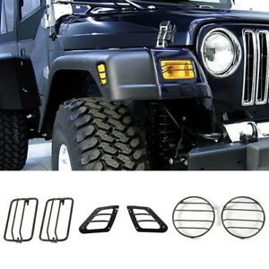 For 97-2006 Jeep Wrangler TJ Euro Headlight Side Marker Turn Signal Guards Cover