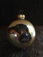 "Collectible gold 3"" VINTAGE HAND PAINTED DACHSHUND GLASS ornament by C.S."