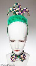 Mardi Gras Jester Headband & Bow Tie Set Gold Green & Purple Metallic Harlequin