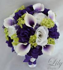 17 Piece Package Silk Flower Wedding Bridal Bouquets Sets PURPLE GREEN WHITE