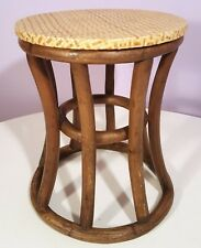 MID-CENTURY FAUX BAMBOO END TABLE PATIO CIGARETTE PLANT STAND RATTAN TOP