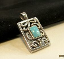 Sterling Silver 925 Filigree Pendant/Charm w/Turquoise Stone