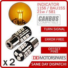 2 x CANBUS ERROR FREE BAU15S 581 21w 1156 BULB INDICATOR ORANGE AMBER 30 SMD