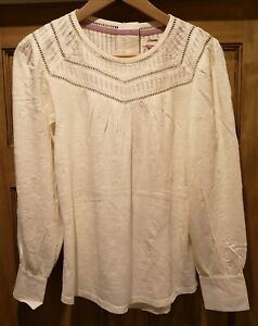 White Stuff Natural white Embroidered Long Sleeved Top Size 10