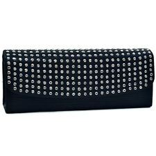 Dasein Women Evening Wedding Bag Flap Over Clutch with Dot Studs Chain  - Black