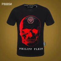 PHILIPP PLEIN Black/White Skull Beading Men Casual T-shirt P8889# Size M-3XL