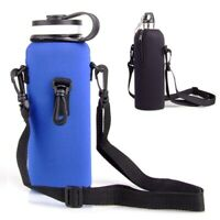 Water Bottle Carrier Neoprene Insulated Cover Bag Holder Strap Travel For 1L