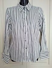 SIZE 14 WOMEN'S WHITE STRIPE LONG SLEEVE 'AUTOGRAPH' DOUBLE  FRENCH CUFF SHIRT