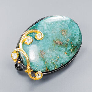 Turquoise Brooch Silver 925 Sterling Jewelry Fine Art Unique /NB09661
