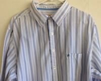 Mossimo Supply Co Men's Shirt XXL Blue White Striped LS Button up 100% Cotton