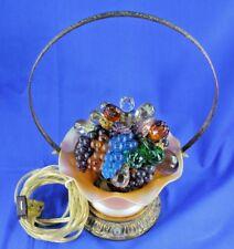 Antique Czech Or Austrian Glass Fruit Lamp With Aurene Vase Gilt Metal Frame