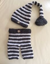 Newborn Baby Handmade ELF Hat & Pants Crochet 2 Piece Set Photo Props 1-6 months