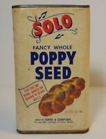 Vintage 1950s SOLO MUSIC POPPY SEED BREAD GRAPHIC SPICE TIN LaGrange Illinois IL