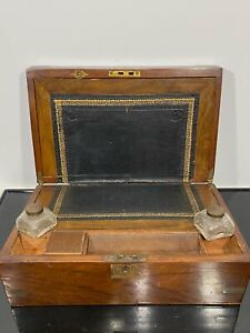 Vintage Wooden Hinged Double Well Desk Writing Inkwell Box Chest