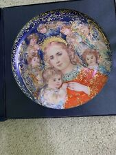 """New """"The Angels' Message"""" Christmas Plate Edna Hibel & Edwin M. Knowles w/ Coa"""