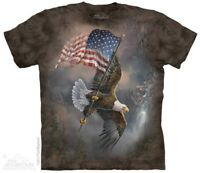 Flag Bearing Eagle T-Shirt by The Mountain. USA Patriotic Tee S-5XL NEW