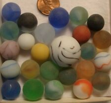 25 Vintage Glass Frosted Marbles Solid Yellow Red Blue Multicolor Swirl Shooter