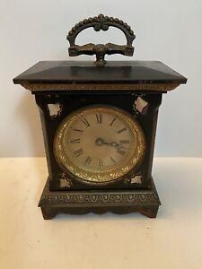 ANTIQUE Bracket Alarm Carriage Clock Iron w MOP Working, No Reserve!