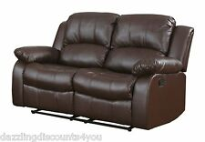 Traditional Brown Love Seat 2-Seater Bonded Leather Recliner Chair