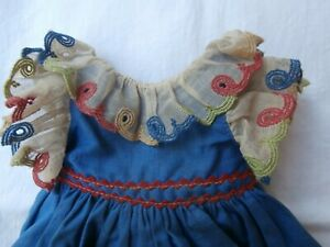 Vintage Machine Made Cotton Dress For Composition Or Hard Plastic Doll Red/Blue