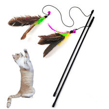 Colorful Pet Cat Teaser Toy Cute Bird Feather Plastic Wand Interactive Training