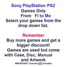 Sony Playstation 2 ps2 Spiele nur-Wählen Sie Ihre Spiele aus Drop Down Fi-Mo Liste