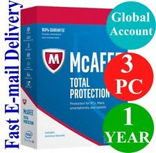 McAfee Total Protection 3 PC / 1 YEAR (Account Subscription) 2018