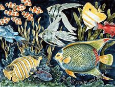 """Tropical Fish"" Note Cards-pack of 10 & envelopes, by artist, Julie Hammer"