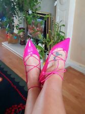 new Asos hot pink lace up flats size 7 / 40