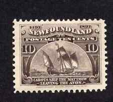 Newfoundland #68 10 Cent Black Brown Matthew Discovery of Newfoundland Issue MH