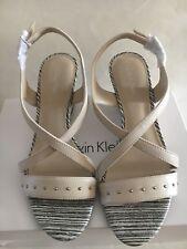 Calvin Klein Pamila wedge soft white sandal women's shoes US size 11M