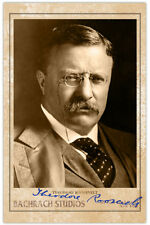 President Theodore Roosevelt Photograph Autograph Reprint RP Cabinet Card CDV