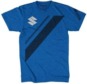 New Suzuki Men's Stripe T-Shirt  ~ Blue ~L~ # 990A0-16212-LRG
