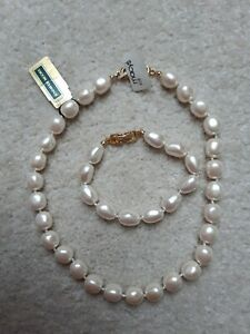 Macy's Pearl Necklace and Bracelet