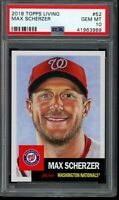 2018 Topps Living Set #52 Max Scherzer PSA 10 Gem Mint SP Short Print Card
