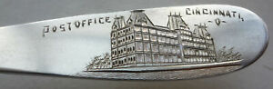 RARE & HISTORIC -c1921 CINCINNATI POST OFFICE souvenir DEDICATION STERLING SPOON