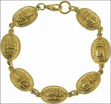 24 k Gold-Plated Egyptian Seven Scarab Bracelet Authentic Reproduction Jewelry