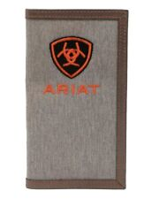 Ariat Western Mens Wallet Rodeo Leather Cotton Embroidered Logo Grey A3542304