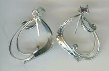 LONG LEAF (#6) STERLING SILVER BEAD OR PEARL-MOUNT PENDANT BAIL