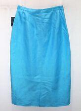 DOLINA Brand Blue Linen Elastic Sides Midi Skirt Size 10 BNWT #TS75