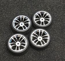 Chrome R/C 1/10 Scale Rims and Tires RC Car Pre-Glued !  4 Tec HPI Hot !!!!!!!!!